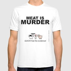 MEAT IS (tasty) MURDER SMALL White Mens Fitted Tee