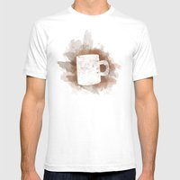 Coffee Stain Mens Fitted Tee White SMALL