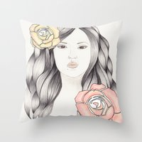 Whimsical Face with Pastel Roses Throw Pillow