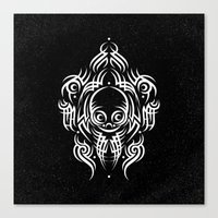 Alien Tribal Tattoo - Wh… Canvas Print