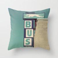 Greyhound Bus Sign Throw Pillow
