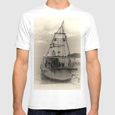 Fishing Boat Mens Fitted Tee White SMALL