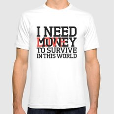 Money & Love Mens Fitted Tee White SMALL