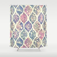 Patterned & Painted Floral Ogee in Vintage Tones Shower Curtain