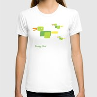 Happy Bird-Green Womens Fitted Tee White SMALL