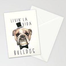 English Bulldog - livin' la vida bulldog Stationery Cards
