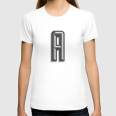Letter A Womens Fitted Tee White SMALL