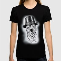 I'm too SASSY for my hat! Vintage Pup. Womens Fitted Tee Black SMALL