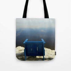 The Blue Chair at the Sea Tote Bag