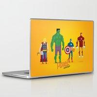 super heroes Laptop & iPad Skins featuring Super Heroes - Pixel Nostalgia by Boo! Studio