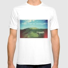 Mountain cow SMALL Mens Fitted Tee White