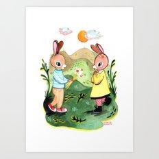 Happy Birthday Little Rabbit Art Print