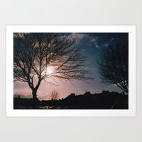Art Print featuring Red Sun by PintoQuiff
