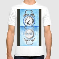 Pause Button White SMALL Mens Fitted Tee