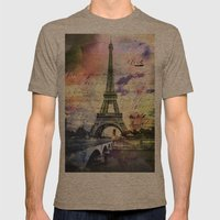 Eiffel Tower Paris Mens Fitted Tee Tri-Coffee SMALL