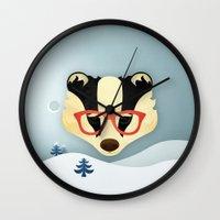 Winter Badger Wall Clock