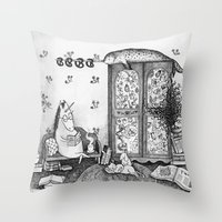 Unicorn House Throw Pillow