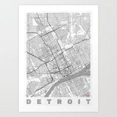 Detroit Map Line Art Print