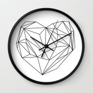 Wall Clock featuring Heart Graphic (black On … by Mareike Böhmer Grap…