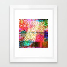 Flower Dreamscape - Painting, Illustration, pink, purple, yellow, blue Framed Art Print