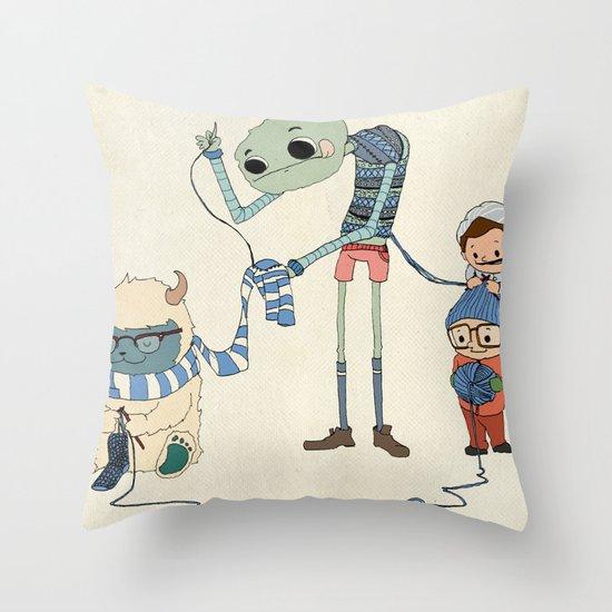 Knitting Train Throw Pillow