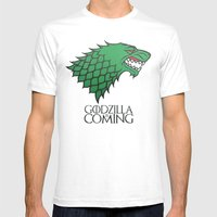 GODZILLA IS COMING Mens Fitted Tee White SMALL