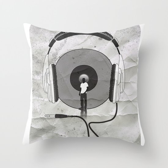 vinyl afro Throw Pillow