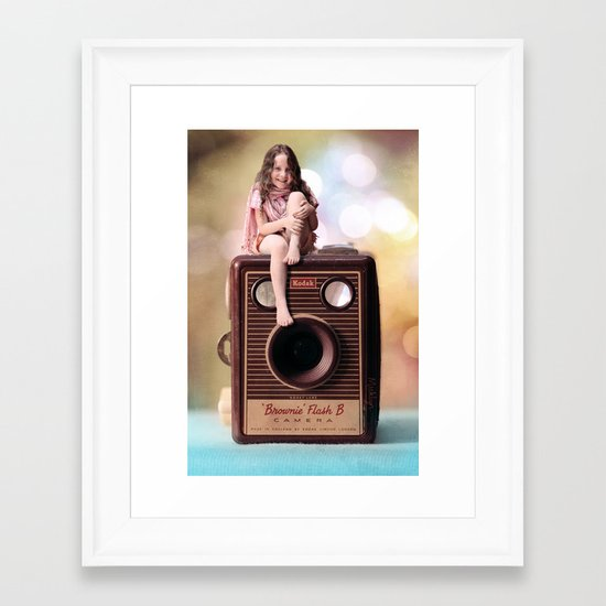 Smile for the Camera - vintage Kodak Brownie camera with miniature girl. Framed Art Print
