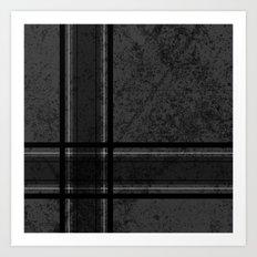 Grungy Grey Plaid Art Print