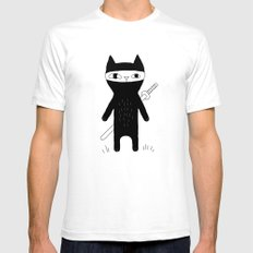 Ninja Cat SMALL White Mens Fitted Tee