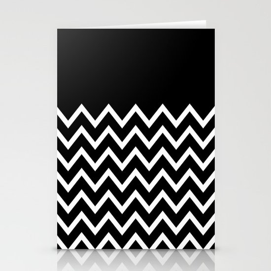 White Chevron On Black Stationery Card