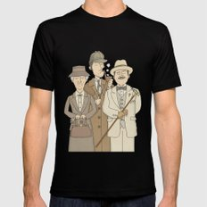 The Detectives - Miss Marple, Sherlock Holmes, Hercule Poirot Mens Fitted Tee SMALL Black