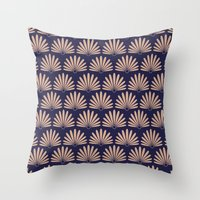 Blue & Peach Daisies Throw Pillow