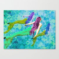 swimming deep with my pod Canvas Print