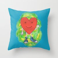 A Heart With Sneakers On Throw Pillow