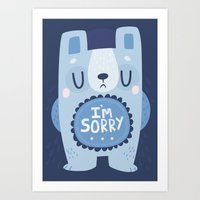 I'm Sorry Blue Bear  Art Print