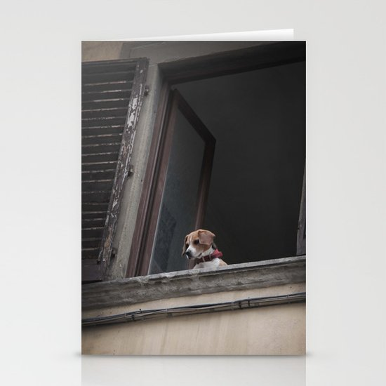 take me with you _ Beagle in a window Stationery Card