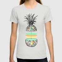 Sliced Pineapple Womens Fitted Tee Silver SMALL
