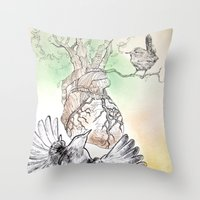 Green Bough, Singing Bir… Throw Pillow