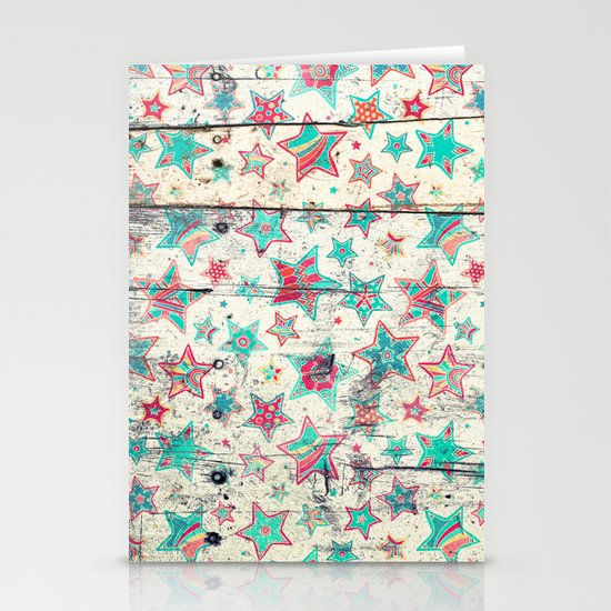 Grunge Stars on Shabby Chic White Painted Wood Stationery Card