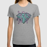 DIAMOND HANDS Womens Fitted Tee Athletic Grey SMALL