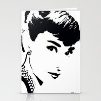 audrey hepburn Stationery Cards featuring Audrey Hepburn by Saundra Myles