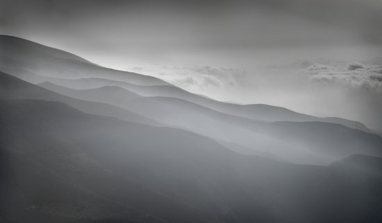 Misty mountains from the air Art Print