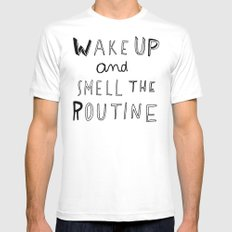 WAKE UP Mens Fitted Tee White SMALL