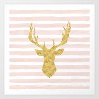 Pink Watercolor Stripes … Art Print