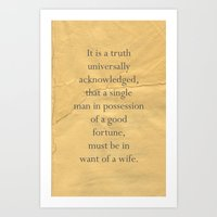 It Is A Truth Universall… Art Print