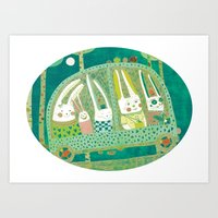 Rabbit journey Art Print
