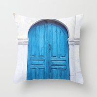 Vibrant Blue Greek Door to Whitewashed Home in Crete, Greece Throw Pillow