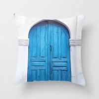 Vibrant Blue Greek Door … Throw Pillow