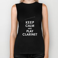 Keep Calm and Play Clarinet Biker Tank